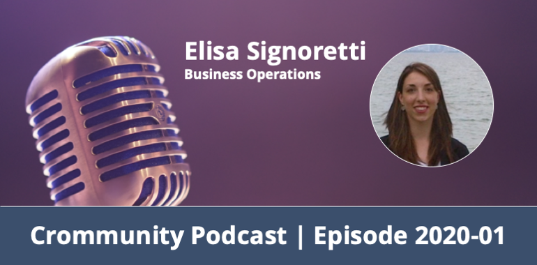 "Image of a condenser microphone with podcast title (""Crommunity Podcast - Episode 2020-01"") and guest (""Elisa Signoretti - Business Operations"")"
