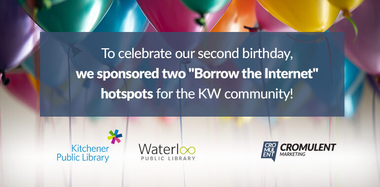 """To celebrate Cromulent Marketing's second birthday, we sponsored two """"Borrow the Internet"""" hotspots for the KW community"""